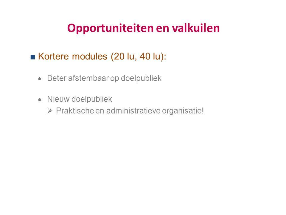Opportuniteiten en valkuilen  Kortere modules (20 lu, 40 lu):  Beter afstembaar op doelpubliek  Nieuw doelpubliek  Praktische en administratieve organisatie!