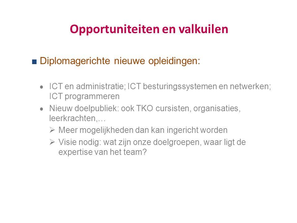 Opportuniteiten en valkuilen  Diplomagerichte nieuwe opleidingen:  ICT en administratie; ICT besturingssystemen en netwerken; ICT programmeren  Nieuw doelpubliek: ook TKO cursisten, organisaties, leerkrachten,…  Meer mogelijkheden dan kan ingericht worden  Visie nodig: wat zijn onze doelgroepen, waar ligt de expertise van het team