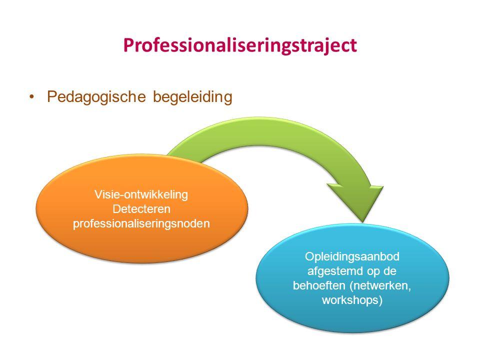 Professionaliseringstraject Pedagogische begeleiding Visie-ontwikkeling Detecteren professionaliseringsnoden Visie-ontwikkeling Detecteren professionaliseringsnoden Opleidingsaanbod afgestemd op de behoeften (netwerken, workshops)