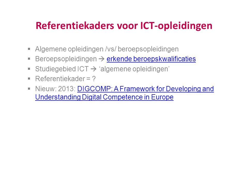 Referentiekaders voor ICT-opleidingen  Algemene opleidingen /vs/ beroepsopleidingen  Beroepsopleidingen  erkende beroepskwalificatieserkende beroepskwalificaties  Studiegebied ICT  'algemene opleidingen'  Referentiekader = .