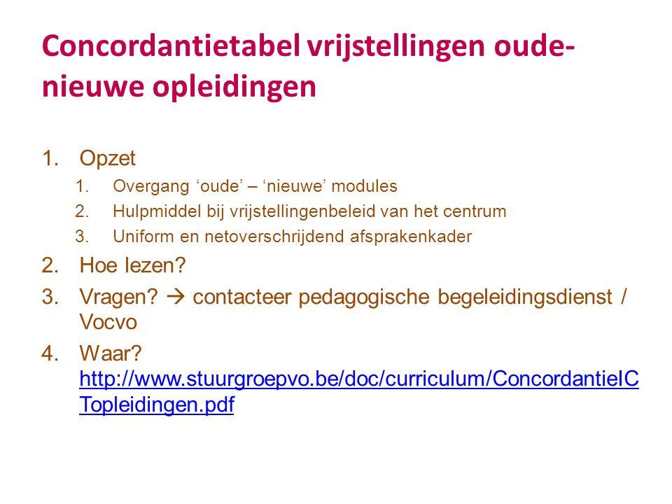 Concordantietabel vrijstellingen oude- nieuwe opleidingen 1.Opzet 1.Overgang 'oude' – 'nieuwe' modules 2.Hulpmiddel bij vrijstellingenbeleid van het centrum 3.Uniform en netoverschrijdend afsprakenkader 2.Hoe lezen.