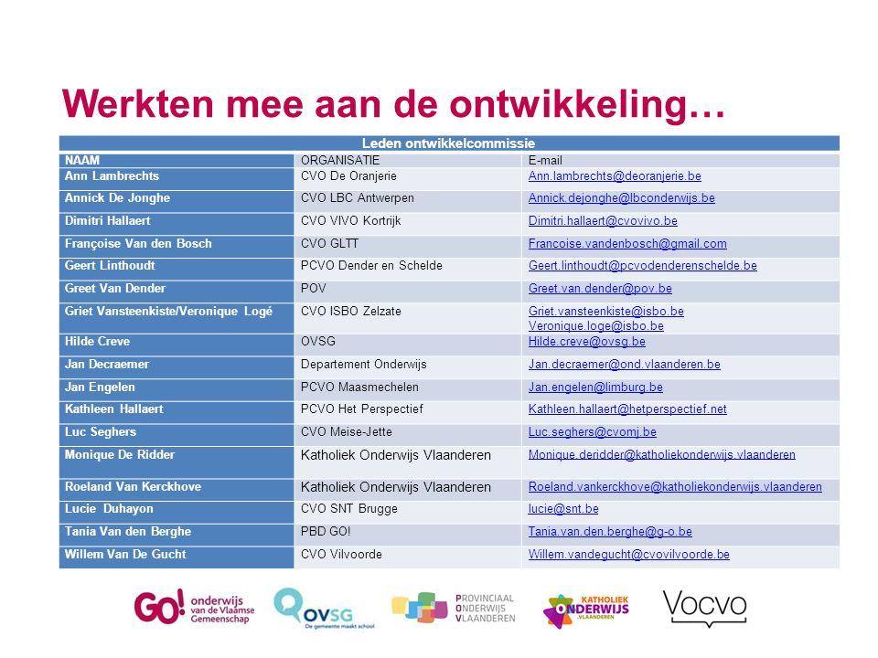 Werkten mee aan de ontwikkeling… Leden ontwikkelcommissie NAAMORGANISATIEE-mail Ann LambrechtsCVO De OranjerieAnn.lambrechts@deoranjerie.be Annick De
