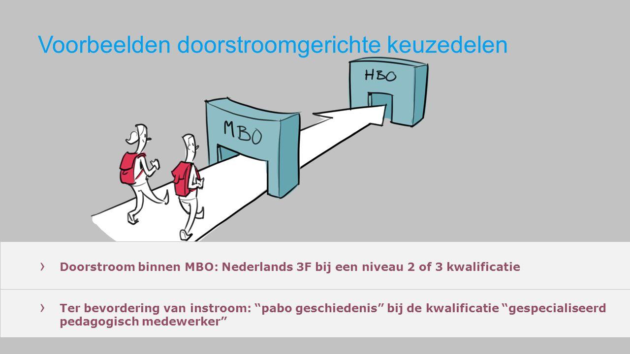 Voorbeelden doorstroomgerichte keuzedelen › Doorstroom binnen MBO: Nederlands 3F bij een niveau 2 of 3 kwalificatie › Ter bevordering van instroom: pabo geschiedenis bij de kwalificatie gespecialiseerd pedagogisch medewerker