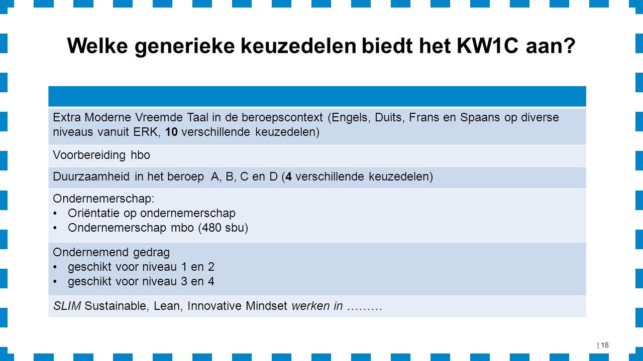 Welke generieke keuzedelen biedt het KW1C aan.