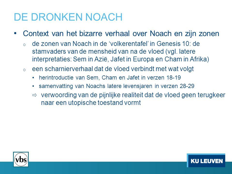 DE DRONKEN NOACH Context van het bizarre verhaal over Noach en zijn zonen o de zonen van Noach in de 'volkerentafel' in Genesis 10: de stamvaders van