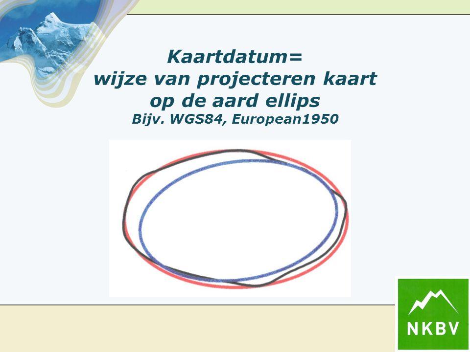 Kaartdatum= wijze van projecteren kaart op de aard ellips Bijv. WGS84, European1950