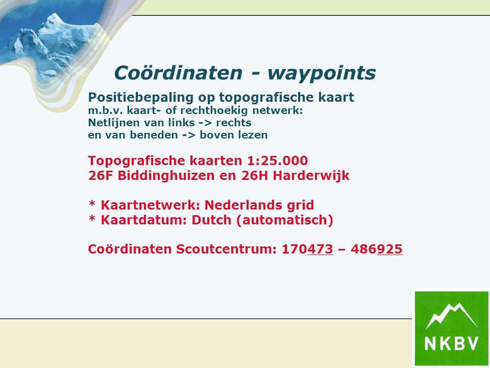 Coördinaten - waypoints Positiebepaling op topografische kaart m.b.v.