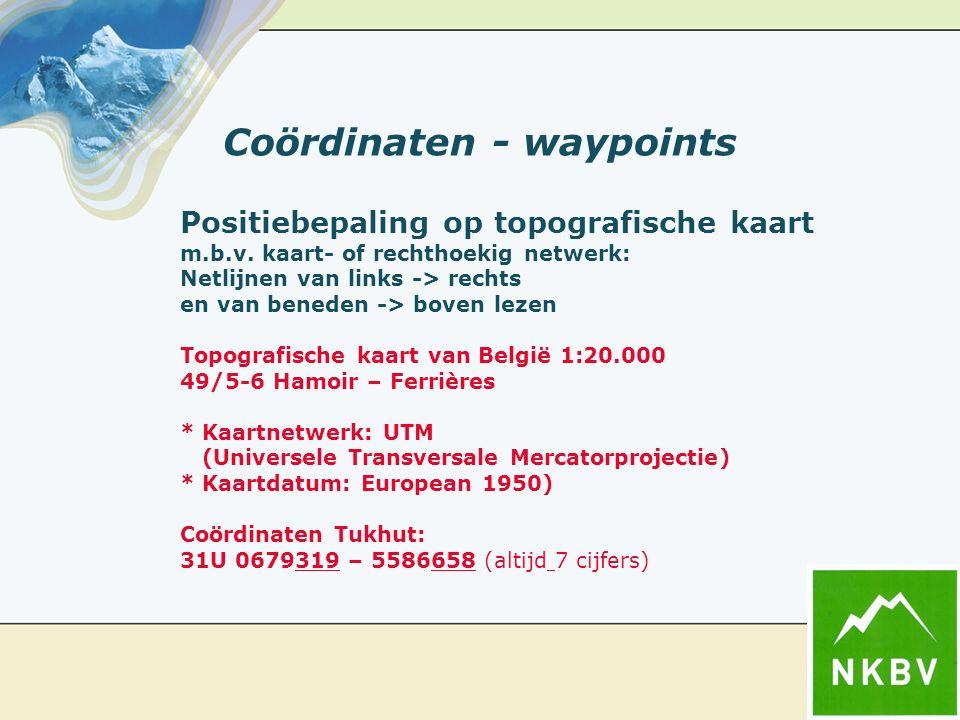 Coördinaten - waypoints Positiebepaling op topografische kaart m.b.v. kaart- of rechthoekig netwerk: Netlijnen van links -> rechts en van beneden -> b