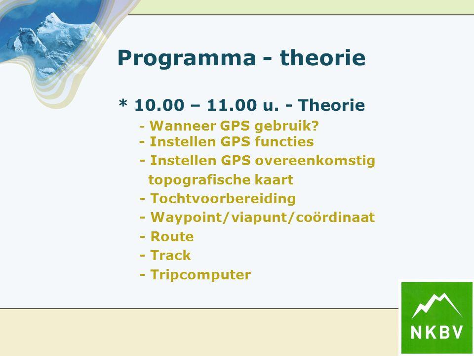 Programma - theorie * 10.00 – 11.00 u. - Theorie - Wanneer GPS gebruik? - Instellen GPS functies - Instellen GPS overeenkomstig topografische kaart -