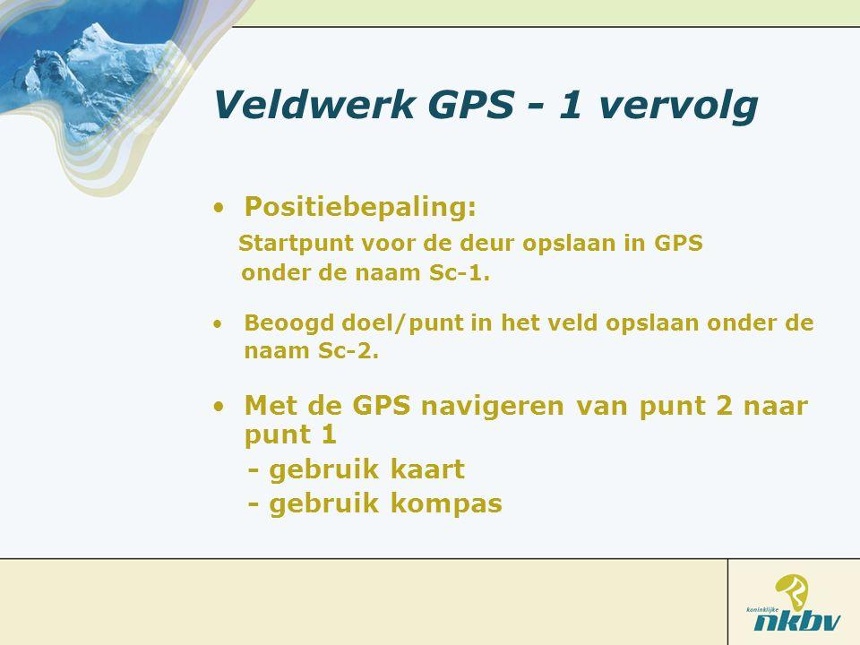 Veldwerk GPS - 1 vervolg Positiebepaling: Startpunt voor de deur opslaan in GPS onder de naam Sc-1. Beoogd doel/punt in het veld opslaan onder de naam