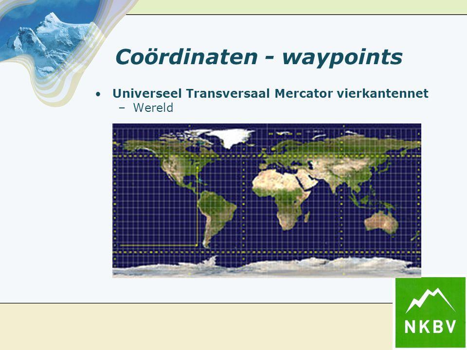 Coördinaten - waypoints Universeel Transversaal Mercator vierkantennet –Wereld
