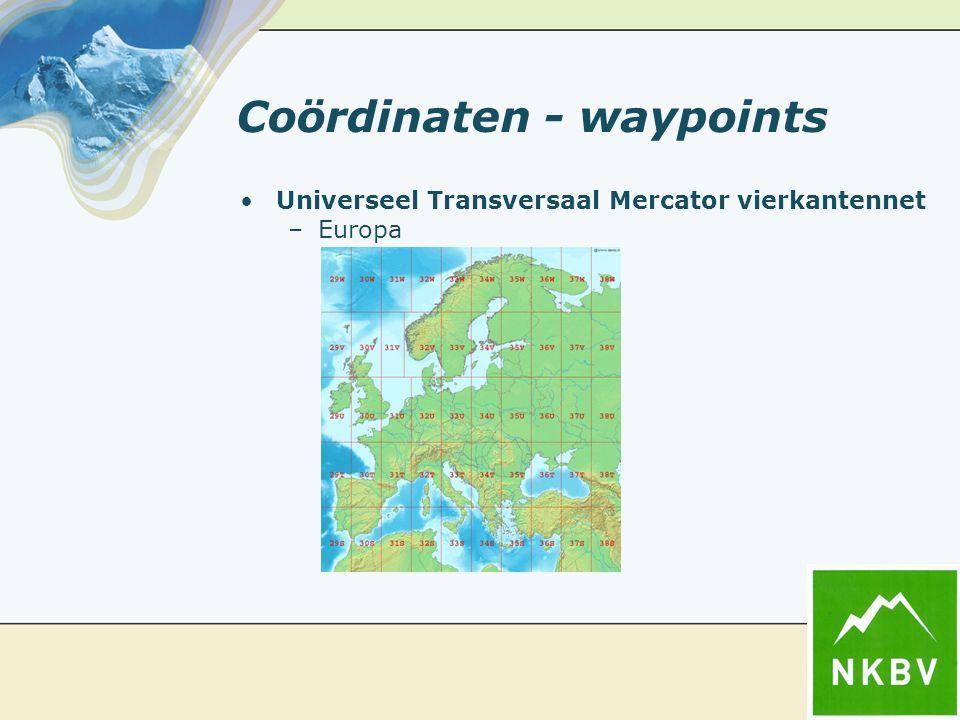 Coördinaten - waypoints Universeel Transversaal Mercator vierkantennet –Europa
