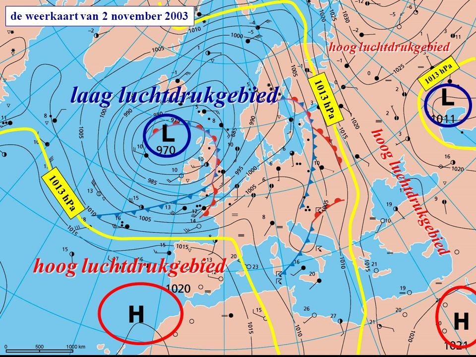 de weerkaart van 2 november 2003 laag luchtdrukgebied hoog luchtdrukgebied 1013 hPa