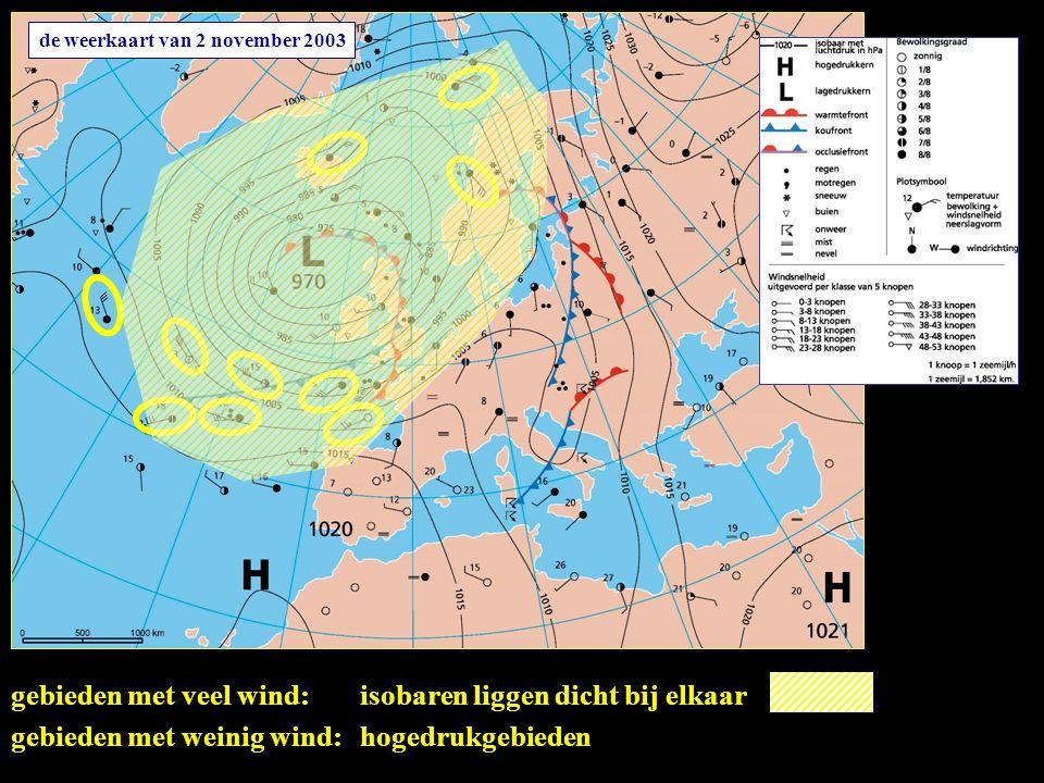 de weerkaart van 2 november 2003 gebieden met veel wind:isobaren liggen dicht bij elkaar gebieden met weinig wind:hogedrukgebieden