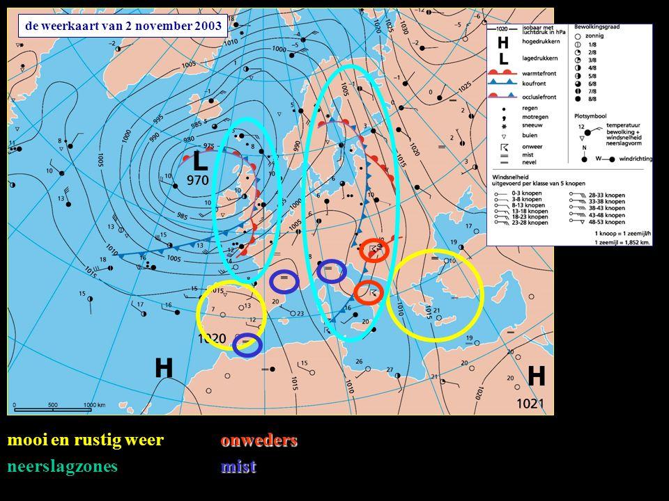 de weerkaart van 2 november 2003 mooi en rustig weer neerslagzones onweders mist