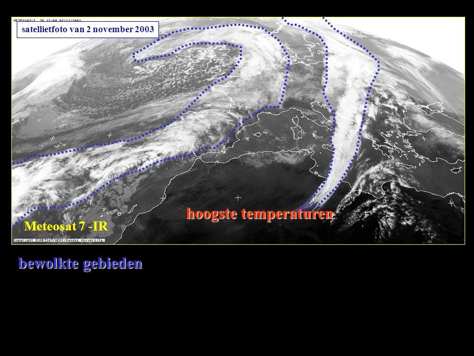 Meteosat 7 -IR bewolkte gebieden satellietfoto van 2 november 2003 hoogste temperaturen