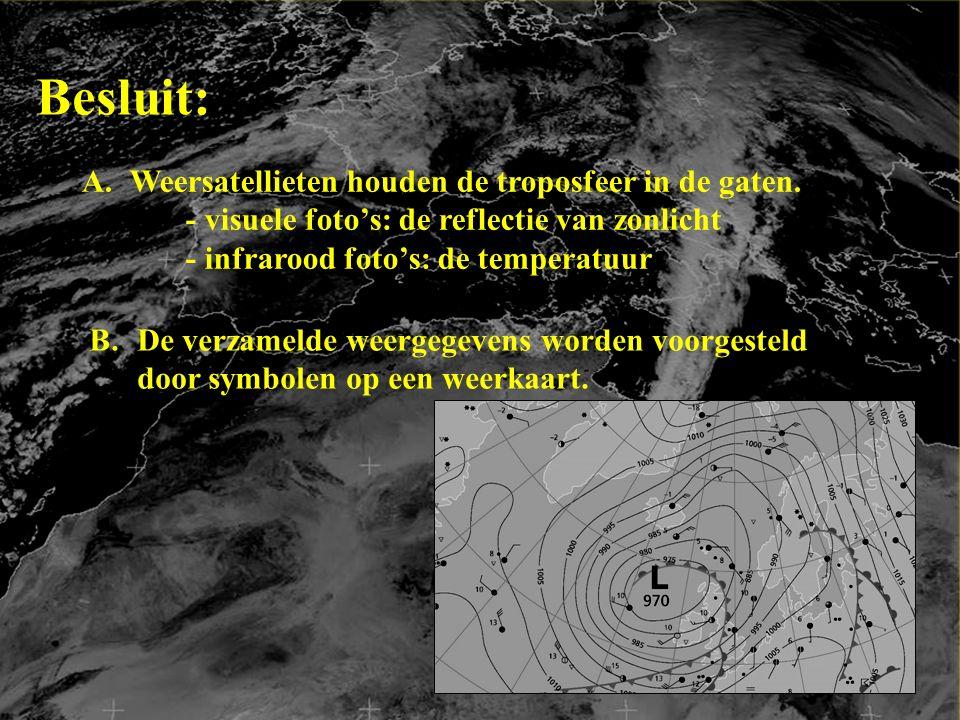 Besluit: A.Weersatellieten houden de troposfeer in de gaten.