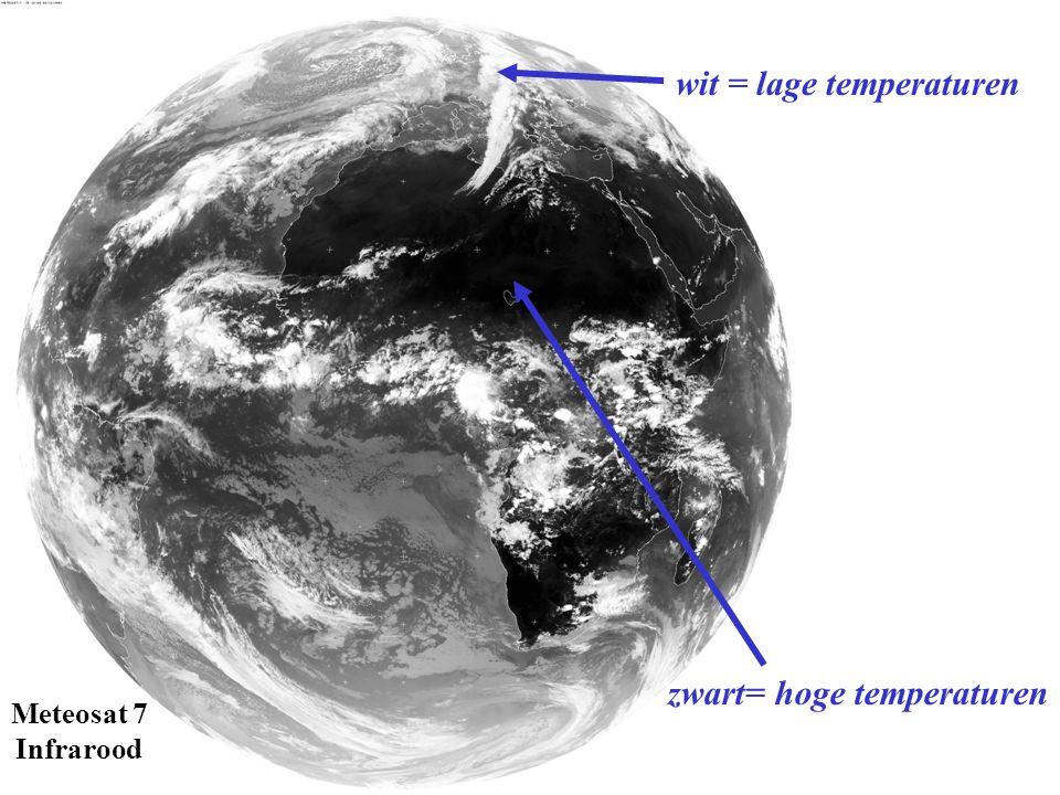 Meteosat 7 Infrarood wit = lage temperaturen zwart= hoge temperaturen
