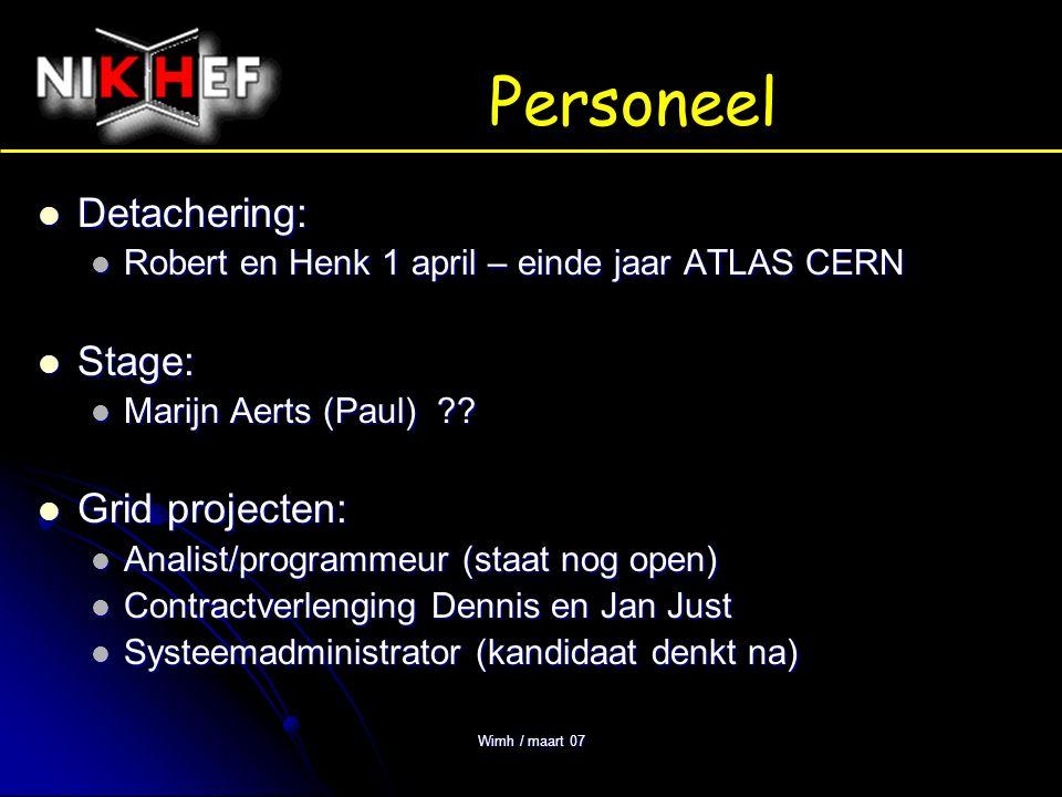 Wimh / maart 07 Projecten LHC (start januari 2008): LHC (start januari 2008): Experimenten (ATLAS, LHCb en ALICE) Experimenten (ATLAS, LHCb en ALICE) productie afronden, installeren, testen productie afronden, installeren, testen Astroparticle physics: Astroparticle physics: ANTARES: opschalen van 5 naar 10 'strings', Dell cluster ANTARES: opschalen van 5 naar 10 'strings', Dell cluster KM3NET: ontwerpstudie 3 jaar (EU) – 'zwembad in eminhal' KM3NET: ontwerpstudie 3 jaar (EU) – 'zwembad in eminhal' Physics Data Processing PDP (grid): Physics Data Processing PDP (grid): LHC Computing Grid (LCG) TIER-1 (met SARA) LHC Computing Grid (LCG) TIER-1 (met SARA) Projectfinanciëring: EGEE (EU), VL-E en Big Grid (NL) Projectfinanciëring: EGEE (EU), VL-E en Big Grid (NL) intern … jaarverslag, NIKHEF web site (Kees), web based reisaanvraag (Jan) intern … jaarverslag, NIKHEF web site (Kees), web based reisaanvraag (Jan)