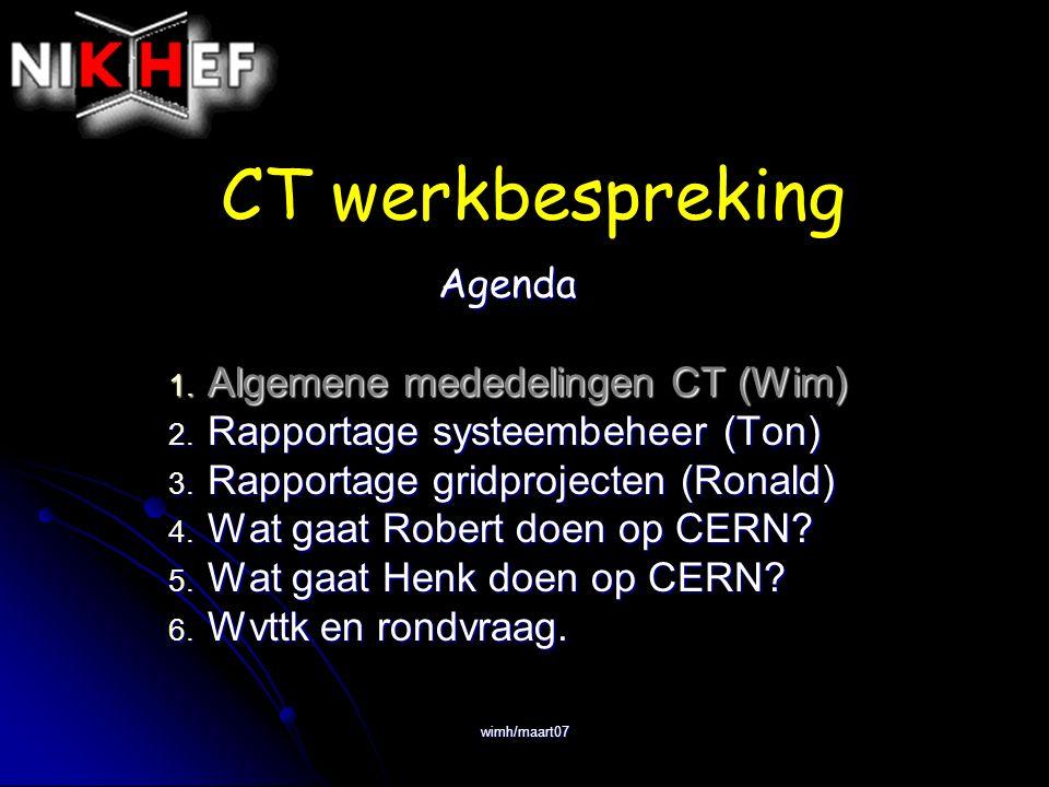 wimh/maart07 CT werkbespreking Agenda 1. Algemene mededelingen CT (Wim) 2.