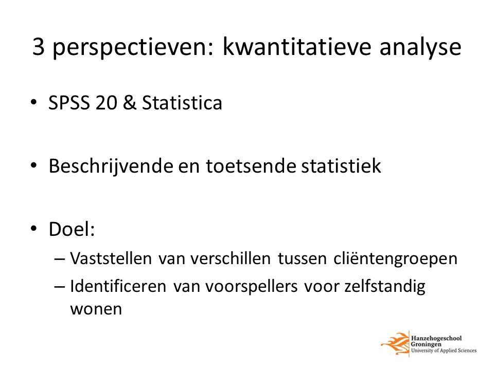 3 perspectieven: kwantitatieve analyse SPSS 20 & Statistica Beschrijvende en toetsende statistiek Doel: – Vaststellen van verschillen tussen cliëntengroepen – Identificeren van voorspellers voor zelfstandig wonen