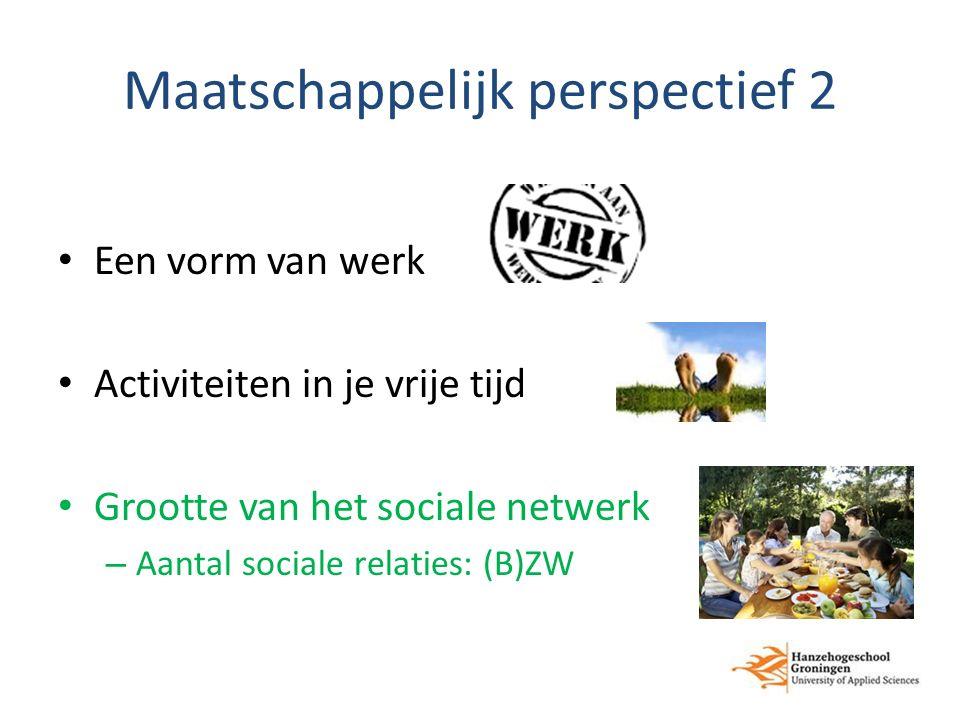 Maatschappelijk perspectief 2 Een vorm van werk Activiteiten in je vrije tijd Grootte van het sociale netwerk – Aantal sociale relaties: (B)ZW