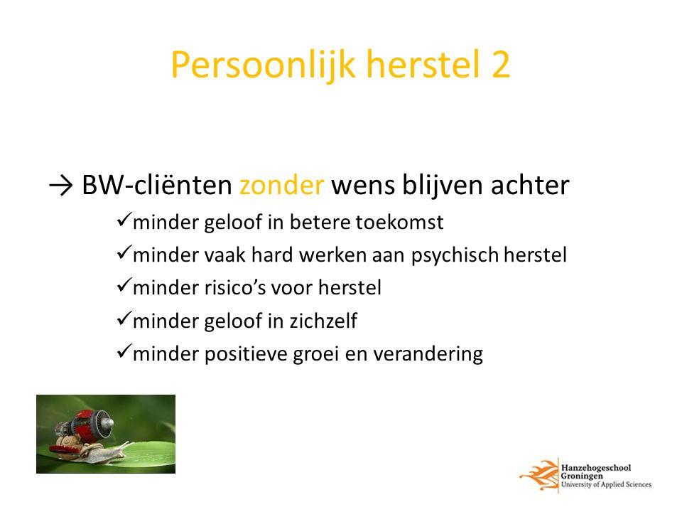 Persoonlijk herstel 2 → BW-cliënten zonder wens blijven achter minder geloof in betere toekomst minder vaak hard werken aan psychisch herstel minder r