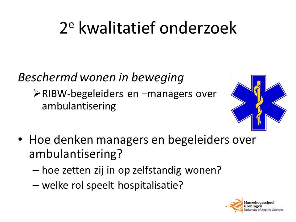 2 e kwalitatief onderzoek Beschermd wonen in beweging  RIBW-begeleiders en –managers over ambulantisering Hoe denken managers en begeleiders over ambulantisering.