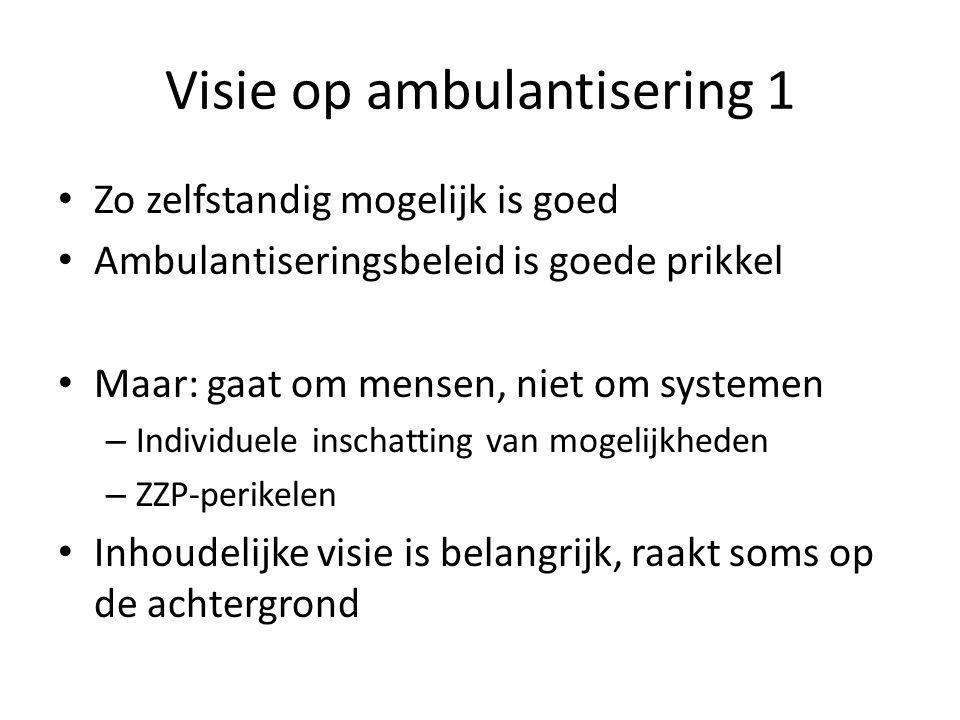 Visie op ambulantisering 1 Zo zelfstandig mogelijk is goed Ambulantiseringsbeleid is goede prikkel Maar: gaat om mensen, niet om systemen – Individuele inschatting van mogelijkheden – ZZP-perikelen Inhoudelijke visie is belangrijk, raakt soms op de achtergrond