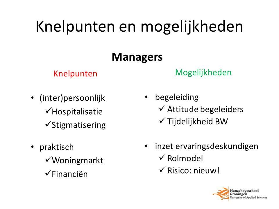 Knelpunten en mogelijkheden Managers Knelpunten (inter)persoonlijk Hospitalisatie Stigmatisering praktisch Woningmarkt Financiën Mogelijkheden begelei