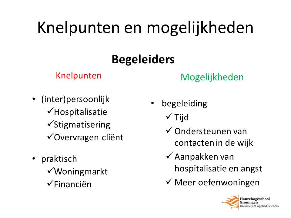Knelpunten en mogelijkheden Begeleiders Knelpunten (inter)persoonlijk Hospitalisatie Stigmatisering Overvragen cliënt praktisch Woningmarkt Financiën