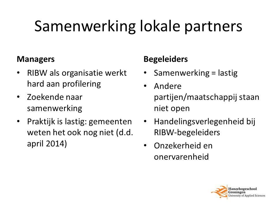 Samenwerking lokale partners Managers RIBW als organisatie werkt hard aan profilering Zoekende naar samenwerking Praktijk is lastig: gemeenten weten het ook nog niet (d.d.