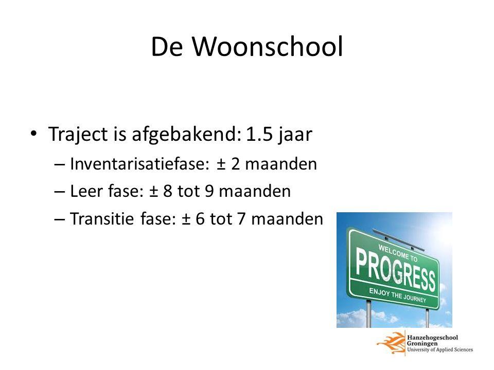 De Woonschool Traject is afgebakend: 1.5 jaar – Inventarisatiefase: ± 2 maanden – Leer fase: ± 8 tot 9 maanden – Transitie fase: ± 6 tot 7 maanden