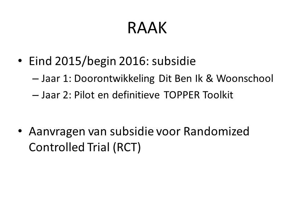 RAAK Eind 2015/begin 2016: subsidie – Jaar 1: Doorontwikkeling Dit Ben Ik & Woonschool – Jaar 2: Pilot en definitieve TOPPER Toolkit Aanvragen van subsidie voor Randomized Controlled Trial (RCT)
