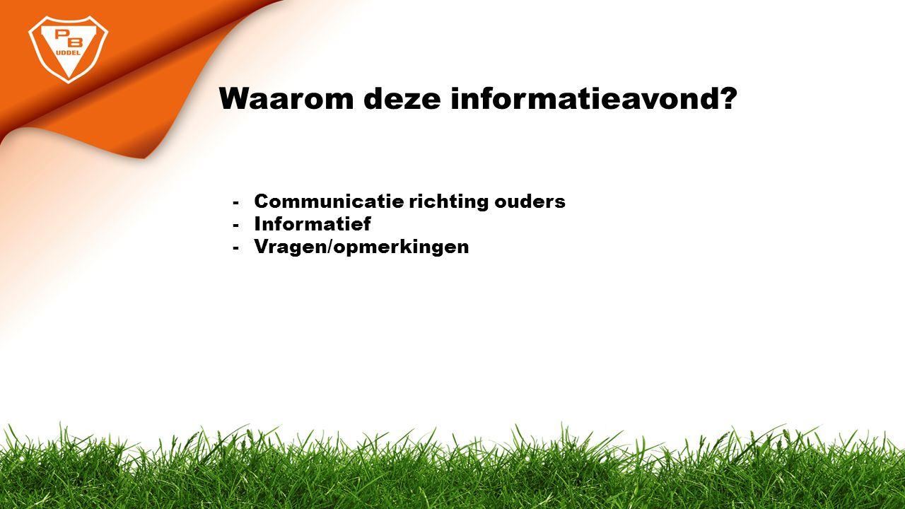 Waarom deze informatieavond? -Communicatie richting ouders -Informatief -Vragen/opmerkingen