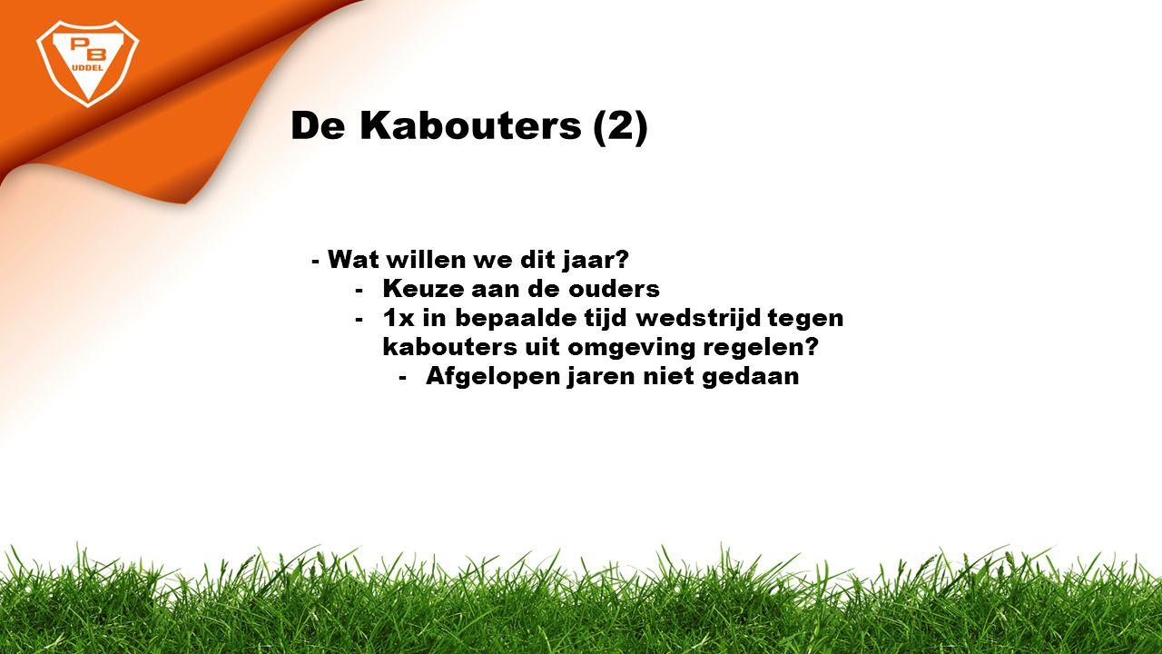 De Kabouters (2) - Wat willen we dit jaar? -Keuze aan de ouders -1x in bepaalde tijd wedstrijd tegen kabouters uit omgeving regelen? -Afgelopen jaren