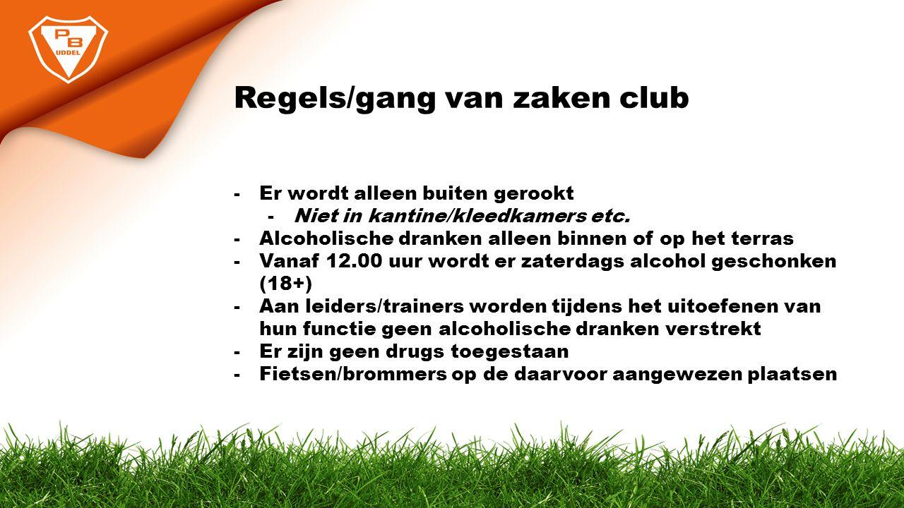 Regels/gang van zaken club -Er wordt alleen buiten gerookt -Niet in kantine/kleedkamers etc. -Alcoholische dranken alleen binnen of op het terras -Van