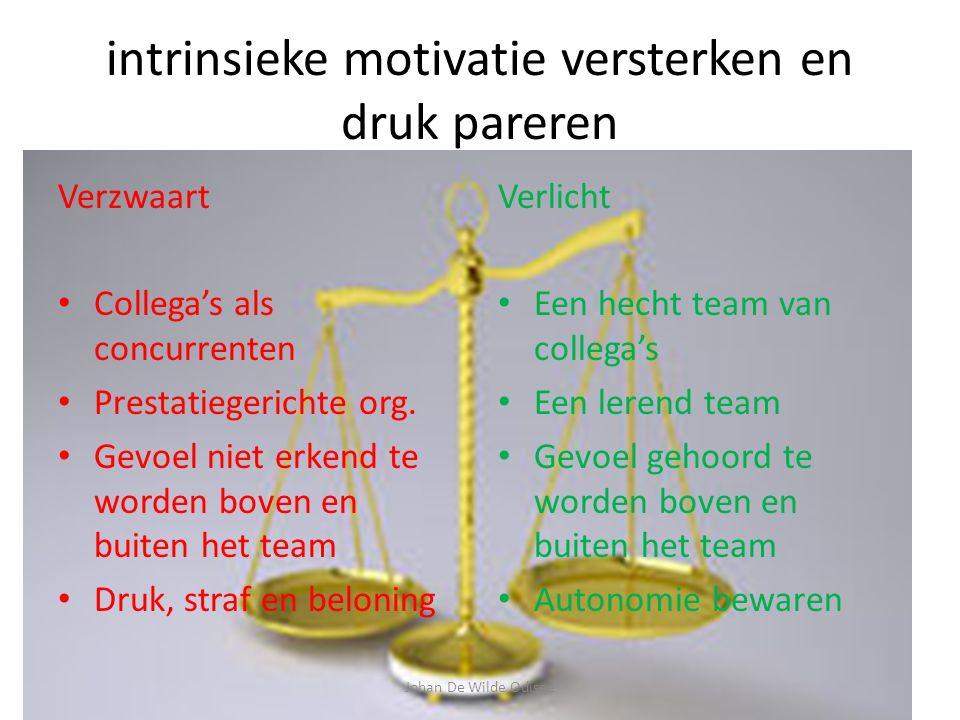 intrinsieke motivatie versterken en druk pareren Verzwaart Collega's als concurrenten Prestatiegerichte org.