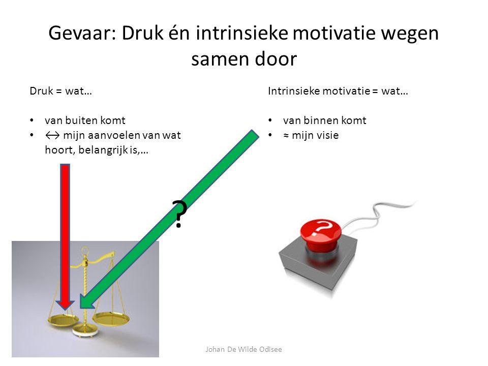 Gevaar: Druk én intrinsieke motivatie wegen samen door Druk = wat… van buiten komt ↔ mijn aanvoelen van wat hoort, belangrijk is,… Intrinsieke motivatie = wat… van binnen komt ≈ mijn visie .