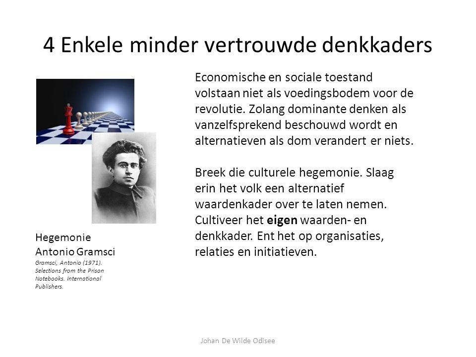 4 Enkele minder vertrouwde denkkaders Hegemonie Antonio Gramsci Gramsci, Antonio (1971).