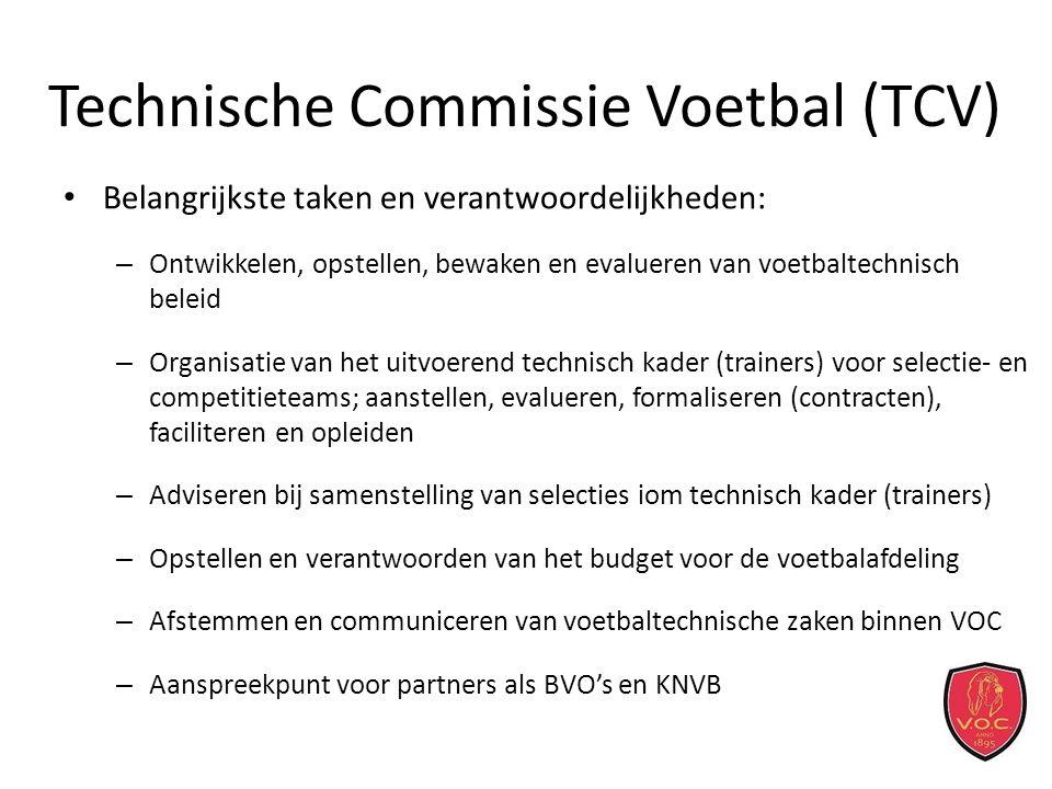 Technische Commissie Voetbal (TCV) Belangrijkste taken en verantwoordelijkheden: – Ontwikkelen, opstellen, bewaken en evalueren van voetbaltechnisch beleid – Organisatie van het uitvoerend technisch kader (trainers) voor selectie- en competitieteams; aanstellen, evalueren, formaliseren (contracten), faciliteren en opleiden – Adviseren bij samenstelling van selecties iom technisch kader (trainers) – Opstellen en verantwoorden van het budget voor de voetbalafdeling – Afstemmen en communiceren van voetbaltechnische zaken binnen VOC – Aanspreekpunt voor partners als BVO's en KNVB