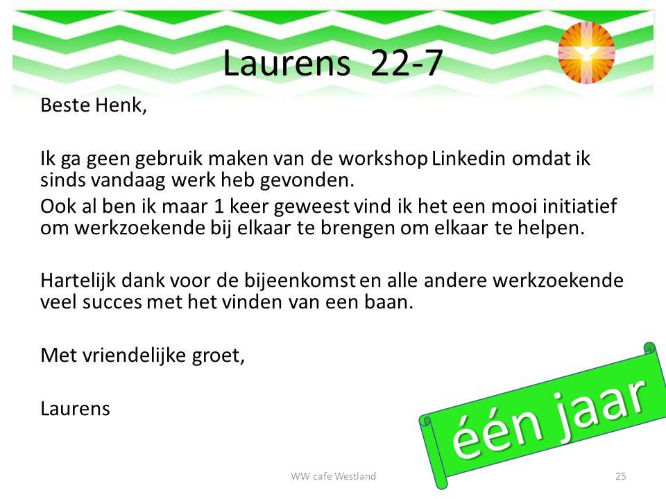 Beste Henk, Ik ga geen gebruik maken van de workshop Linkedin omdat ik sinds vandaag werk heb gevonden.