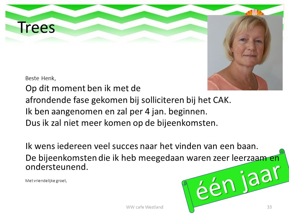 Trees Beste Henk, Op dit moment ben ik met de afrondende fase gekomen bij solliciteren bij het CAK.