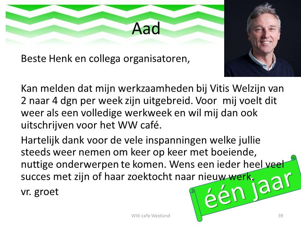 Aad Beste Henk en collega organisatoren, Kan melden dat mijn werkzaamheden bij Vitis Welzijn van 2 naar 4 dgn per week zijn uitgebreid.
