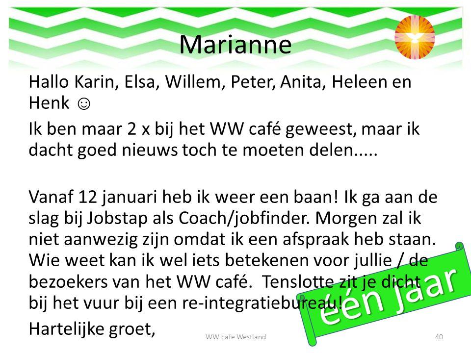 Marianne Hallo Karin, Elsa, Willem, Peter, Anita, Heleen en Henk ☺ Ik ben maar 2 x bij het WW café geweest, maar ik dacht goed nieuws toch te moeten delen.....