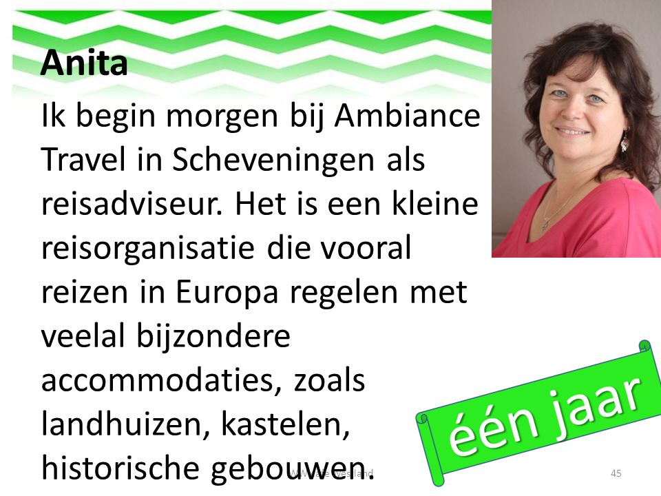 Anita WW cafe Westland45 Ik begin morgen bij Ambiance Travel in Scheveningen als reisadviseur.