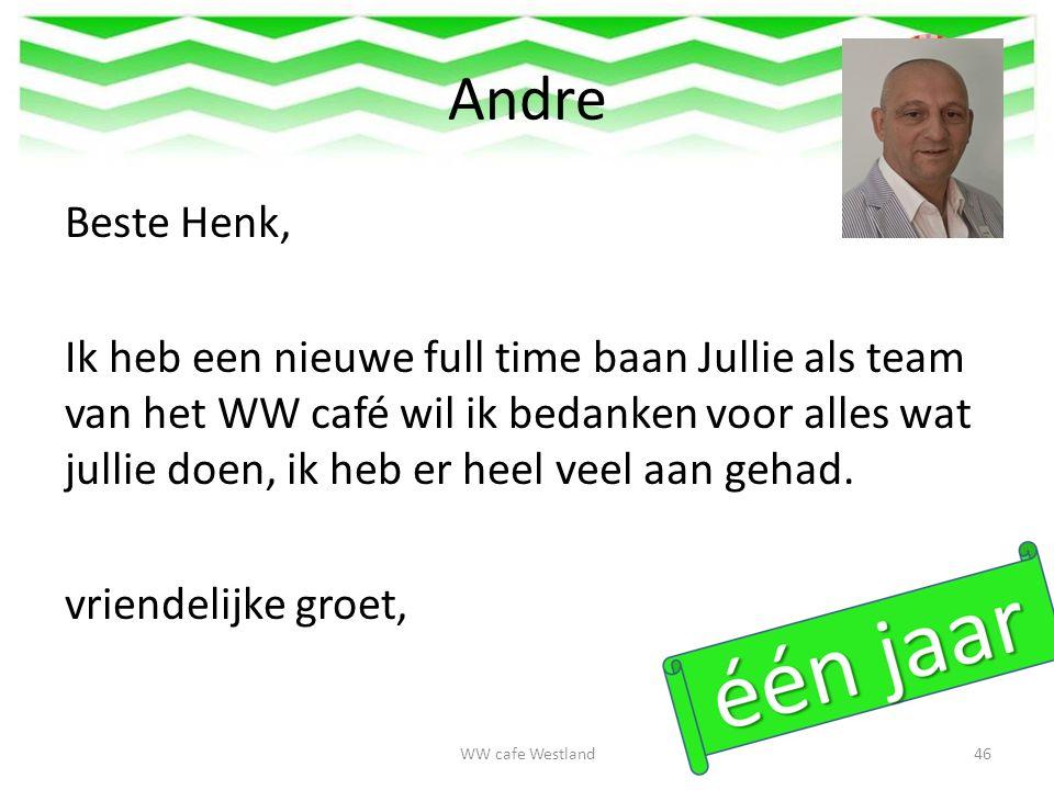 Andre Beste Henk, Ik heb een nieuwe full time baan Jullie als team van het WW café wil ik bedanken voor alles wat jullie doen, ik heb er heel veel aan gehad.