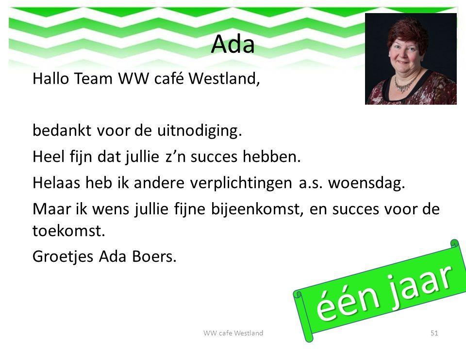 Ada Hallo Team WW café Westland, bedankt voor de uitnodiging.