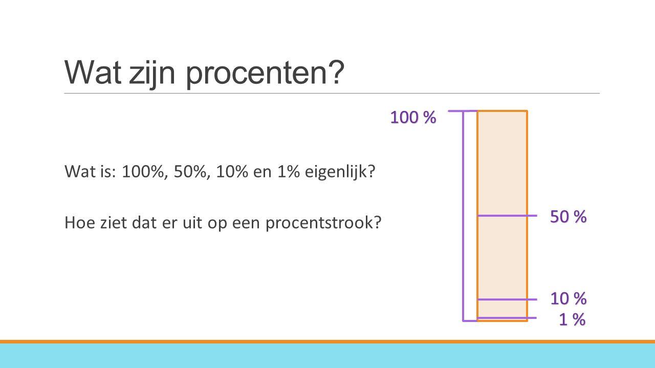 Wat zijn procenten.Wat is: 100%, 50%, 10% en 1% eigenlijk.