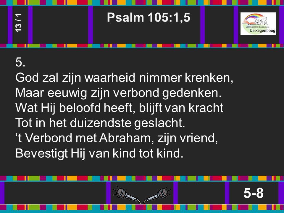 Psalm 105:1,5 5-8 13 / 1 5.